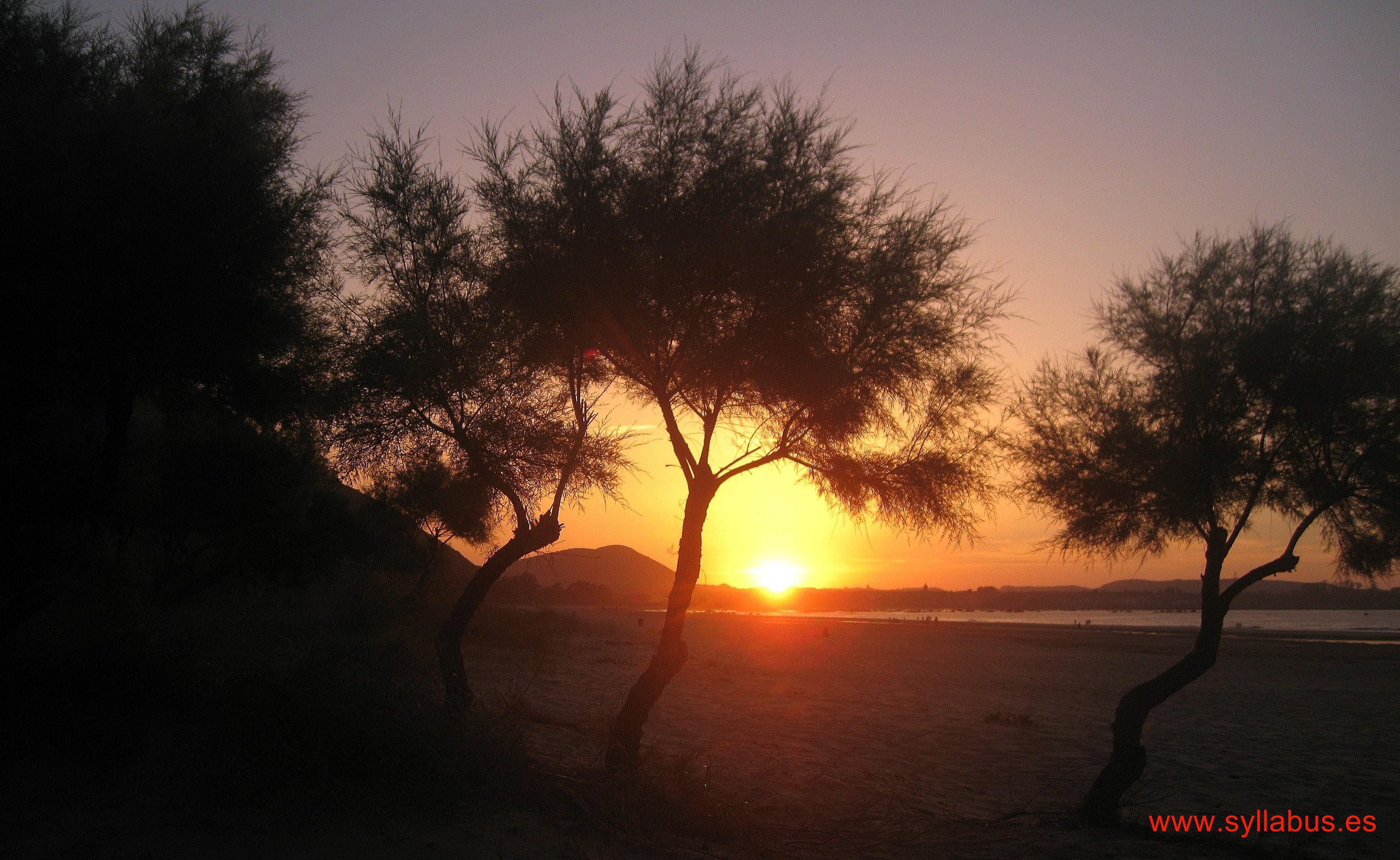 Puesta de sol en la playa de Helgueras, Cantabria.